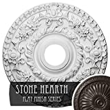 """Ekena Millwork CM18ROSHF Rose Ceiling Medallion, 18""""OD x 3 1/2""""ID x 1 1/2""""P (Fits Canopies up to 7 1/4""""), Hand-Painted Stone Hearth"""