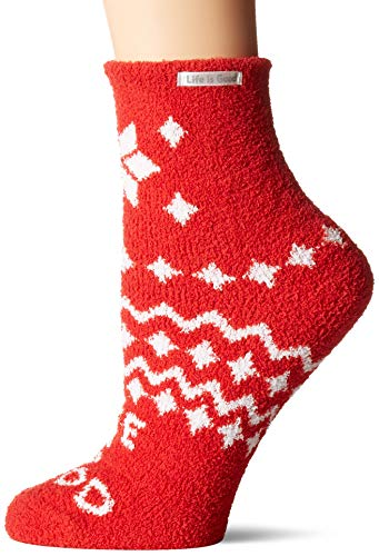 Life is Good Womens Snuggle Slipper Sock Collection,Snowflake,Americana Red ()