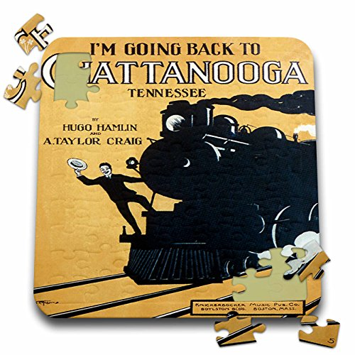 BLN Vintage Song Sheet Covers Reproductions - Im Going Back to Chattanooga Tennessee Man on a Steam engine - 10x10 Inch Puzzle (pzl_170490_2)