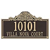 Whitehall Products Villa Nova Rectangular Bronze/Gold Estate Wall Two Line Address Plaque