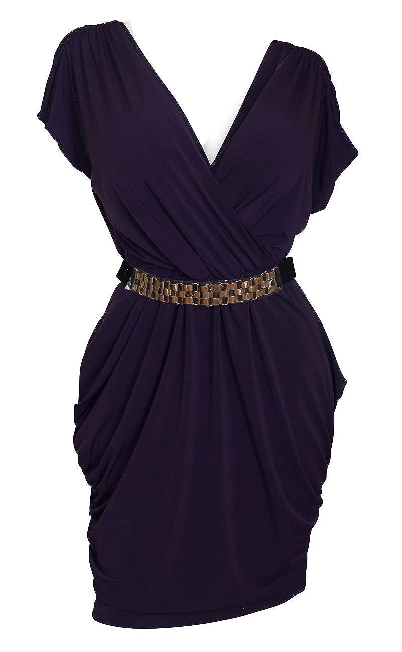 eVogues Plus Size Deep V-Neck Wrap Bodice Dress L20150429B_ORG