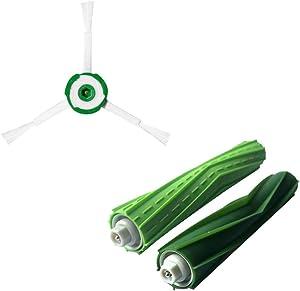 ????Replacement-Brushes-Kit-for-iRobot-Roomba-i7-i7+/i7-Plus-E5-E6-E7-2-Sets-Tangle-Free-Debris-Extractor-Bristle-Brushes-Accessories-Compatible-for-iRobot-Roomba-i7-e5-e6-e7-Vacuum-Cleaner (Green)