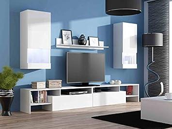 Fesselnd Jadella Wohnwand Komplett U0027Egou0027 Hochglanz Wohnzimmer TV Wand,  Farbe:Hochglanz Weiß