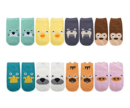 TARTINY Kids Socks Animal Fun Nonskid Cotton Cozy Unisex Socks Ages 0-4 Years Animal Print Socks,8 Pairs per Pack (S 0-2 - Quiz Eyeglasses