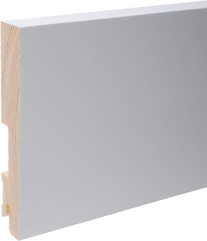 Plinthe en bois v/éritable carr/é 60 x 20 x 2.400 mm opaque blanc laqu/é