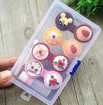 Drove Mini Cute Kuchen Creme Kontaktlinsen Box Halter Fall Container