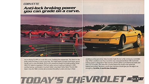 - Magazine Print Ad: Yellow 1986 Chevy Corvette, 2 pages,
