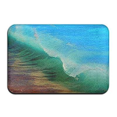 3D Green Blue Waves Home Door Mat Super Absorbent Antiskid Front Floor Mat,Soft Coral Memory Foam Carpet Bathroom Rubber Entrance Rugs for Indoor Outdoor