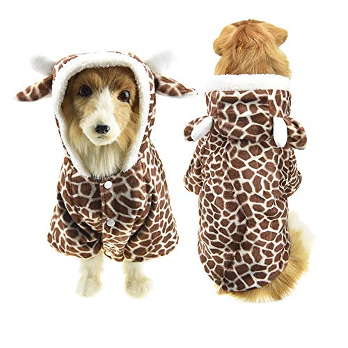FLAdorepet Large Dog Halloween Giraffe Costume Fleece Winter Jacket Clothes for Golden Retriever (5XL, Brown Giraffe) -