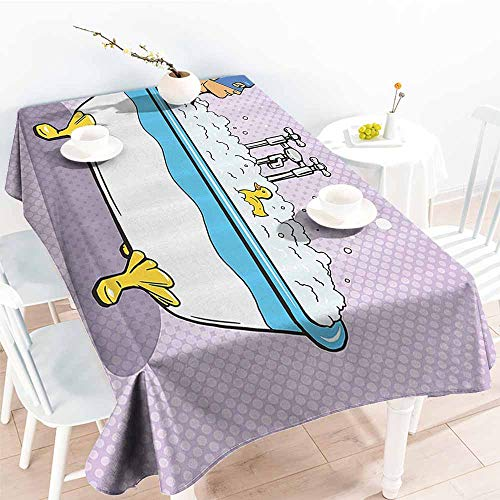 Homrkey Washable Table Cloth Comics Decor Superhero Fast Furious Relaxing in Bubble Bath Shower with Rubber Duck Artwork Multicolor Easy to Clean W54 xL84 -