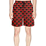 Elxie06 Angrily Skulls Mens Quick Dry Classic Fit Beach Shorts with Drawstring