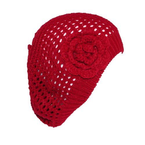 CTM® Womens Lightweight Flower Knit Beret Hat