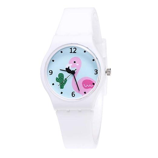 OuYou Reloj Analógico de Pulsera Infantil con Patrón de Flamenco Silicona Educativo Deportivo para Niños Adolescentes