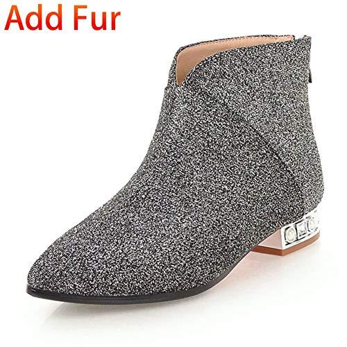Botines Mujer Hoesczs Grande Nuevos Con Silver Piel 43 Tamaño Botas With Fur De Zapatos 32 Invierno Ocio Agregar Cremallera B7rBwq