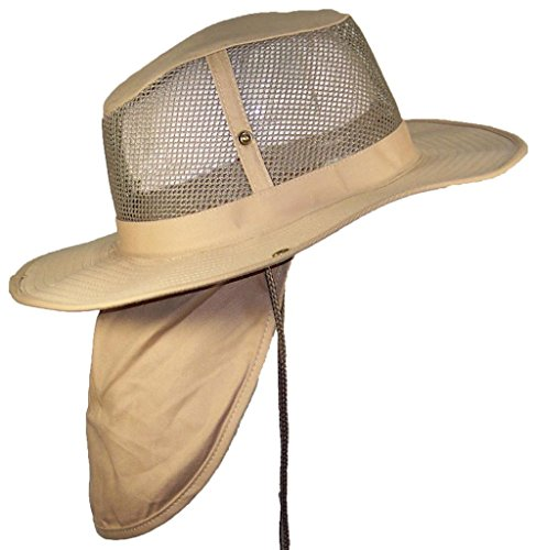 Tropic Hats Summer Wide Brim Mesh Safari/Outback W/Neck Flap & Snap Up Sides - Khaki M - Hat Cap Outback