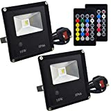 Jayool 10W RGB Floodlight, LED Colour Changing Flood Lights Outdoor with Remote, RGB + Warm White, Waterproof IP66, Timing, UK 3-Plug (2 Pack)