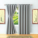 Warm Home Designs 1 Pair of 2 Short Size 54'' x 63'' Light Gray (Silver) Room Darkening Curtains & 2 Free Matching Tie-Backs. Save by Buying Blackout Pairs Instead of Single Panels. E Light Grey 63