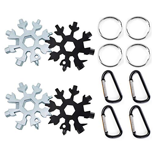 18 Inch Steel Snow - Snowflake Multi-Tool Stainless Steel Snowflake Keychain Tool 18-in-1 Incredible Tool Snowflake Screwdriver Tactical Tool for Outdoor Camping Gift for Valentine's Day, Birthday, and Happy New Year