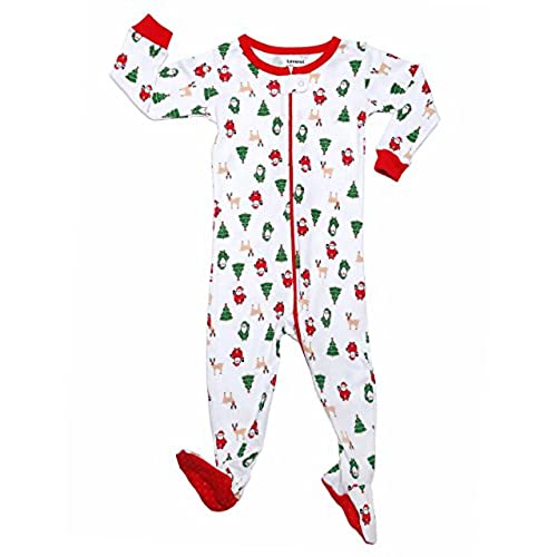leveret footed christmas icons pajama sleeper 100 cotton size 6 12 months