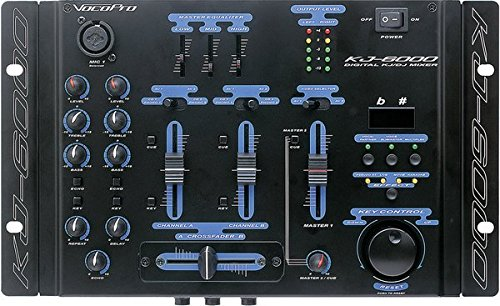 VocoPro KJ-6000 2 Channel, 4 Mic Input Mixer With Digital Key Control and Vocal Eliminator