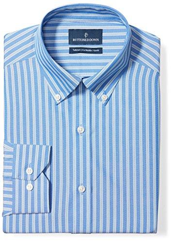 BUTTONED DOWN Men's Tailored Fit Button-Collar Pattern Non-Iron Dress Shirt, Blue Stripe, 18