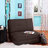 3 position futon - Flip Out Chair Futon with 3 Convertible Positions, Ultra-Suede Material for Added Comfort (Brown)