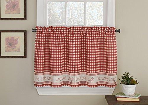 Ben & Jonah Inspirational Elegance by Ben&Jonah Live Laugh Love Checkered Kitchen Curtain Tier Pair (50