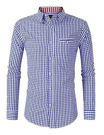 GloryStar Men's German Bavarian Oktoberfest Button Down Dress Shirts Slim Fit Plaid Shirt - Blue - Small