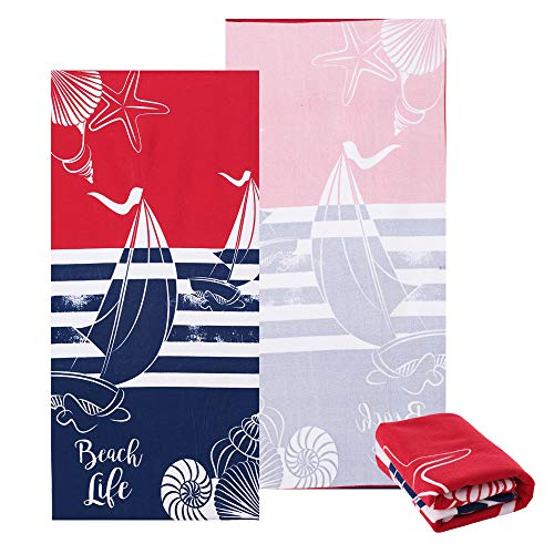 Sharemily home Microfiber Beach Towels for Travel Tropical & Boho Beach Towel Prints for Beach, Travel, Cruise, Outdoor, Thick and Plush Striped Beach Towels 30