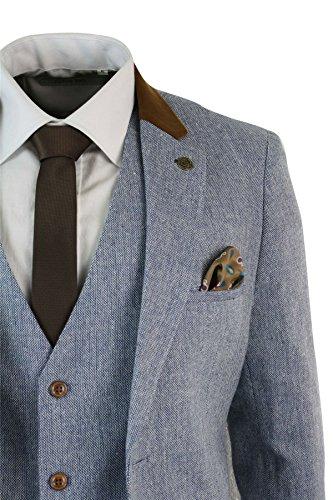 marc darcy Herrenanzug 3 Teilig Grau Blau Fischgräte Tweed Optik Eng  Tailliert Vintage Retro  Amazon.de  Bekleidung 02b5d78e71