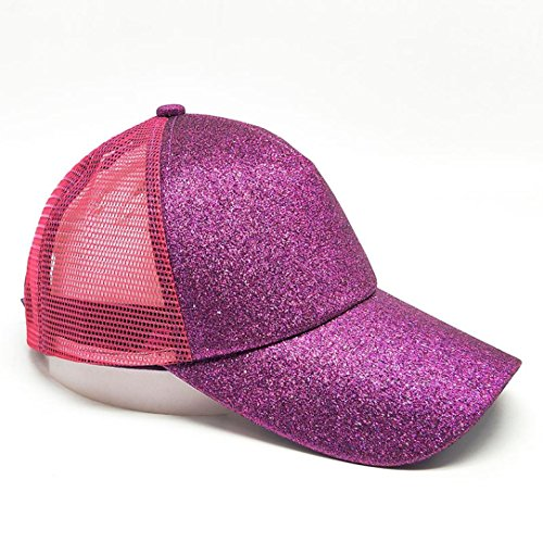 40f9feed58b Botrong 2018 Women Ponytail Baseball Cap Sequins Shiny Messy Bun Snapback  Hat Sun Caps (Rose
