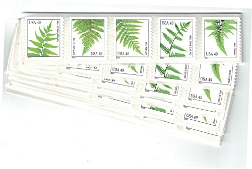 Strips of 10 Ferns USPS Forever Postage Stamps featuring a close up photograph of five different species of fern (10 Strips of 10 Stamps)