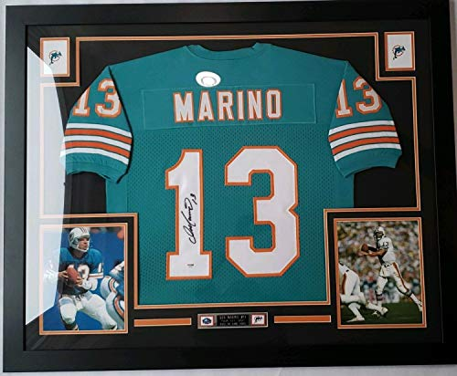 Dan Marino Autographed Signed And Framed Green Dolphins Jersey with Memorabilia PSA/DNA COA