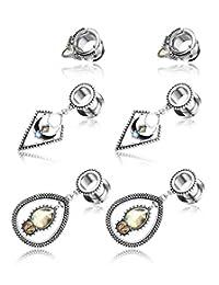 JOERICA 3 Pairs Dangle Ear Plugs Tunnels Stainless Steel Pendant Ear Gauges Expander Stretcher Ear Piercing Jewelry 00g(10mm)