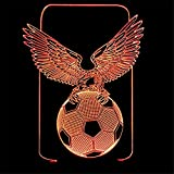 RUIYI Eagle Football 3D Visual Lamp Table Illusion Lamps,7 Color Change Lamp with Base For Friend Kid Soccer Fan Birthday Gift