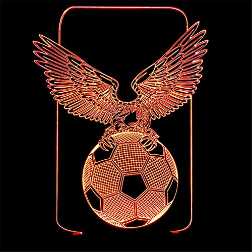 RUIYI Eagle Football 3D Visual Lamp Table Illusion Lamps,7 Color Change Lamp with Base For Friend Kid Soccer Fan Birthday Gift by RUIYI
