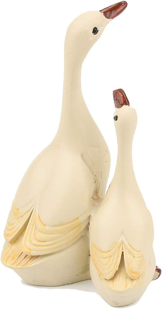 ABEESEA 2pcs Small White Goose Figures Spring Easter Decorations Garden Lawn Home Animal Statues