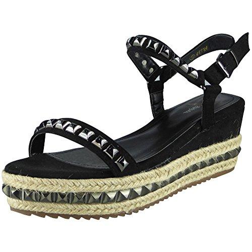 Compensées Regard De 3 forme 8 Sandales Peeptoe Jute Flatform Cloutées Dames Plate Tailles De Chaussures Pour Toile Femmes Fort Noir B8qOrB