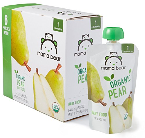 Amazon Brand - Mama Bear Organic Baby Food, Stage 1, Pear, 4 Ounce Pouch (Pack of 12) (Pear Puree)