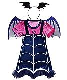 DXYtech Vampirina Costume for Girls Vampire Costumes Outfit Dress+Headband+Wing Kids Halloween Dress Up