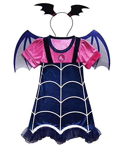 DXYtech Vampirina Costume for Girls Vampire Costumes Outfit Dress+Headband+Wing Kids Halloween Dress Up