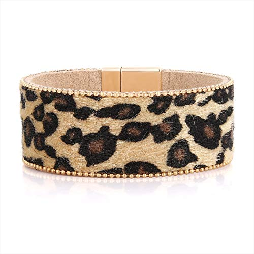 (PHALIN Leather Wrap Bracelet for Women Crystal Wide Cuff Bracelets Multi-Layer Leopard Bangles Wristbands for Girls (C Leopard))