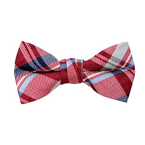 (Spring Notion Boy's Tartan Plaid Woven Bow Tie Red Large)