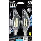 60 watt led candelabra bulbs - Feit Electric BPCFC60/850/LED/2 60W Equivalent Clear Daylight Dimmable Chandelier Flame Tip Candelabra Base LED Light Bulb (2 Pack)