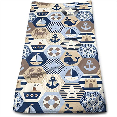 QXLN Nautical Themed Luxury Towels, Home Cotton Towels, Hotel and Spa ()