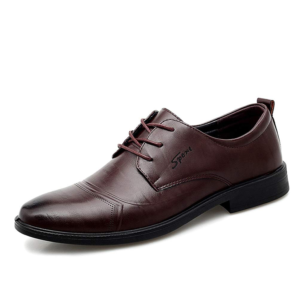 Gobling Men's Classic Business Formal Oxfords Leather Dress Wedding Loafers Anti Slip Lace Up Round Toe Flat Shoes (Color : Darkbrown, Size : 8 M US) by Gobling Men's Shoes