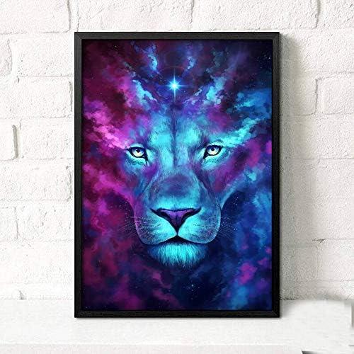 ganlanshu León Azul y púrpura Animal Pintura al óleo Lienzo Abstracto Moderno Arte de la Pared decoración de la Imagen,Pintura sin Marco,30x42cm