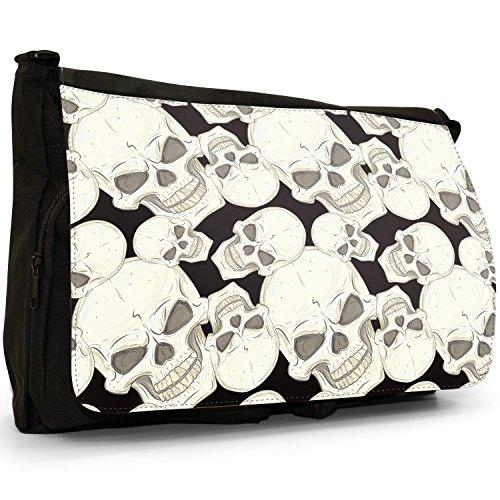 Messenger Mad Bag School Of Flowers Bones Laptop Cross Skulls Large Red Black Montage Canvas Shoulder Skull And Mean xYOq4v