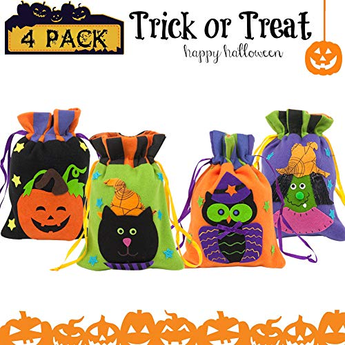 Trick or Treat Bags Pumpkin Halloween Christmas Kids Candy handbag Tote for Children Candy Bucket Gift Costume Party 4 Pieces -