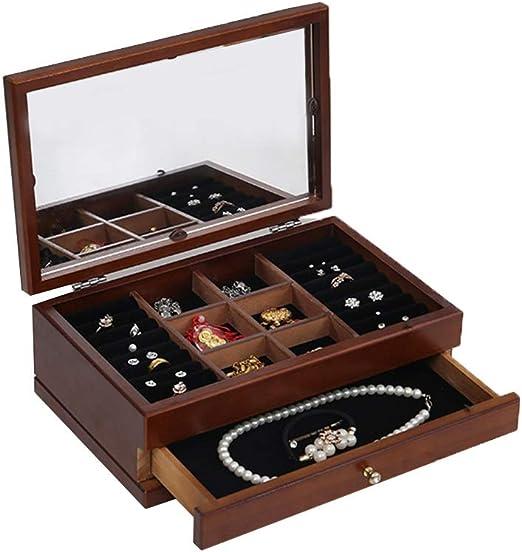 Caja de joyería Caja de joyería Organizador de caja de joyería de madera, caja de joyería Armadura Collar Anillo Pulsera Titular de almacenamiento Caso de la vendimia Regalo para anillos, pulseras, pe: